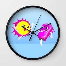 Sun Hug Ice Cream Scream Wall Clock