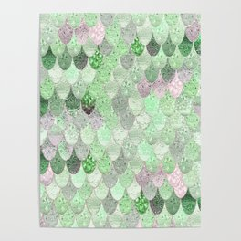 SUMMER MERMAID - GREEN & PINK Poster