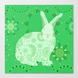 Greenish Touchy Bunny Canvas Print