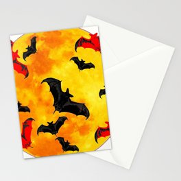 DECORATIVE FULL MOON  FLYING BLACK BATS HALLOWEEN Stationery Cards