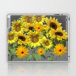GREY YELLOW SUNFLOWER FIELD ART Laptop & iPad Skin