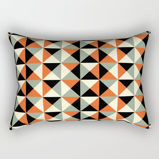 Mid-century pattern (orange triangles) Rectangular Pillow by Gary Andrew Clarke Society6