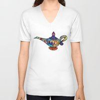aladdin V-neck T-shirts featuring Looking for the genie by Ilse S