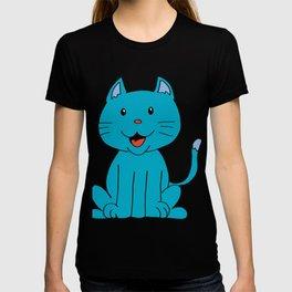 cat light blue T-shirt
