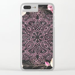 Mandala Night Rose Gold Garden Pink Black Yellow Clear iPhone Case