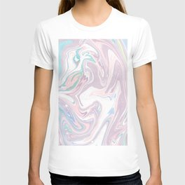 Abstract pastel pink purple teal watercolor marble T-shirt