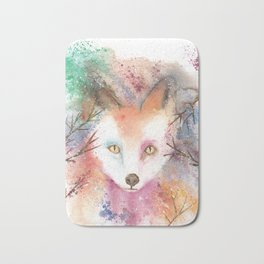 Loose Watercolor Red Fox Bath Mat