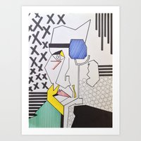 lichtenstein Art Prints featuring Homage to Lichtenstein by Alec_Misinkavitch
