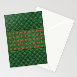 Christmas Green Quilt Pattern with Red Dots Stationery Cards