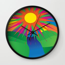 Psychedelic Sun Neon Mountain River Lands Wall Clock