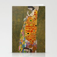 gustav klimt Stationery Cards featuring Gustav Klimt - Hope, II by ArtMasters