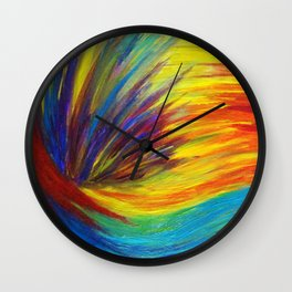 RAINBOW EXPLOSION - Vibrant Smile Happy Colorful Red Bright Blue Sunshine Yellow Abstract Painting  Wall Clock