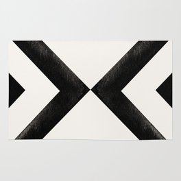 Converging Triangles Black and White Moroccan Tile Pattern Rug