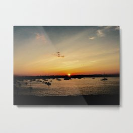 Marblehead Sunset with Boats Metal Print
