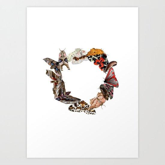 Moth Wreath Art Print