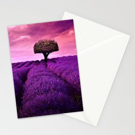 Pink Sunset in Fields of Lavender portrait Stationery Cards
