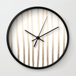 Simply Drawn Vertical Stripes in White Gold Sands Wall Clock