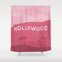 Hollywood Sign Pink Shower Curtain