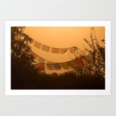 Prayer Flags and Mist Poon Hill Art Print