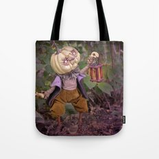 Rucus Studio Pumpkin Man and Fireflies Tote Bag