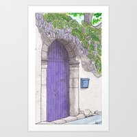 Violet Door surrounded by a violet Wisteria - Darker version Art Print