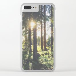 sunlight through the forest trees Clear iPhone Case