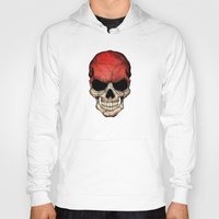 indonesia Hoodies featuring Dark Skull with Flag of Indonesia by Jeff Bartels