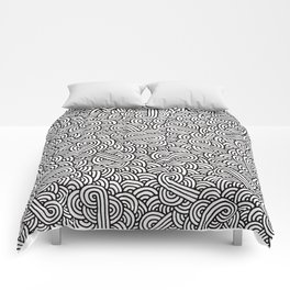 Black and white swirls doodles Comforters