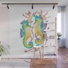 Seahorses In The Seaweed Wall Mural