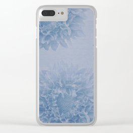 PENSIVE dusty pale blue floral nostalgic pattern Clear iPhone Case