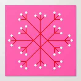 Mod Snowflake Pink Canvas Print