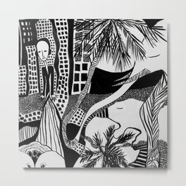 Dreamy Black and White Drawing: 'The Collective Dream' Metal Print
