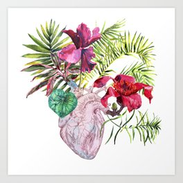 Human heart with flowers, plant and leaf, watercolor Art Print