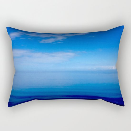 Where Water Meets Sky... | Blue Water and Sky Horizon | Landscape Rectangular Pillow