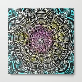 DETAILED CHARCOAL MANDALA (BLACK AND WHITE) WITH COLOR (PINK YELLOW TEAL) Metal Print