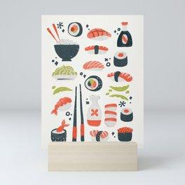 Sushi Dreams – White Mini Art Print