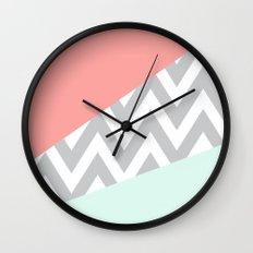 Original Mint & Coral Chevron Block Wall Clock