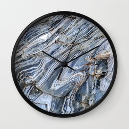 """Travel & nature photography """"details of rock formations in blue and grey"""" for fine art photo print.  Wall Clock"""