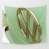 vw bus Wall Tapestries featuring Vintage Mint Green VW Volkswagen Bus Van by Tay Silvey