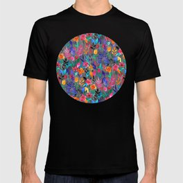 Popping Color Painted Floral on Grey T-shirt