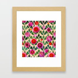 Bright Blooms Modern Hand-Print Floral Framed Art Print