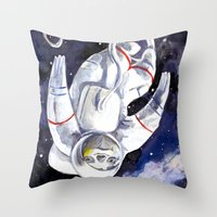 "neil gaiman Throw Pillows featuring Neil the Sloth in Space! by Megan ""Tillette"" Jones"