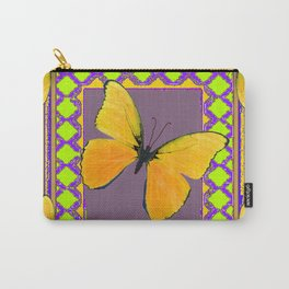 Decorative Black & Lime & Golden Butterfly Art Carry-All Pouch