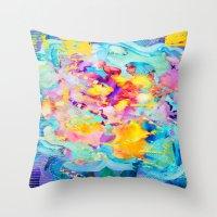 bubblegum Throw Pillows featuring bubblegum  by Lara Gurney