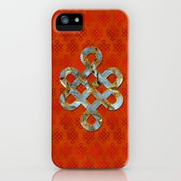 Decorative Marble and Gold Endless Knot symbol iPhone Case
