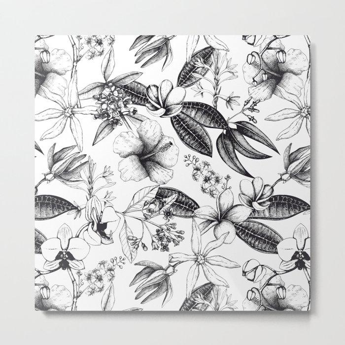 Black and White Vintage Tropical Flowers Pattern Metal Print