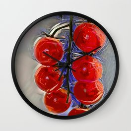 Cherry tomatoes on a branch Wall Clock