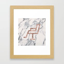 Rose Gold Salon Chair on Marble Background - Salon Decor Framed Art Print