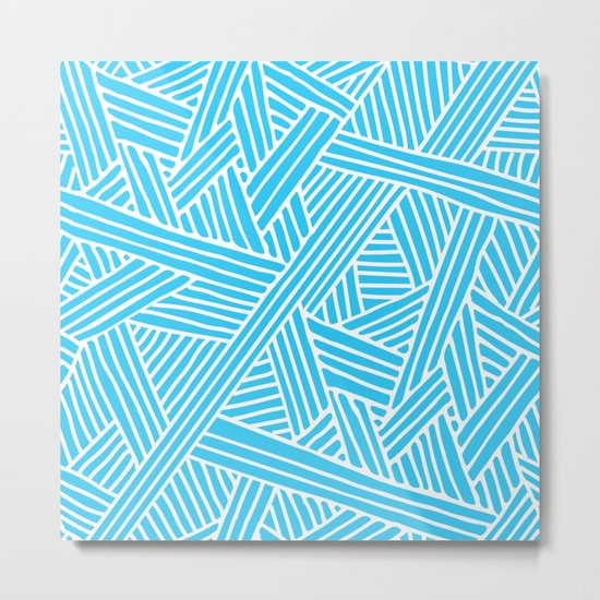 Abstract Teal & white Lines and Triangles Pattern-Mix and Match with Simplicity of Life #Society6 Metal Print