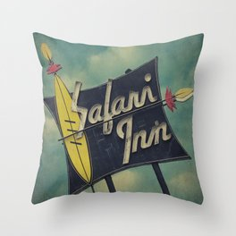 Safari Inn, Burbank, CA.  Throw Pillow